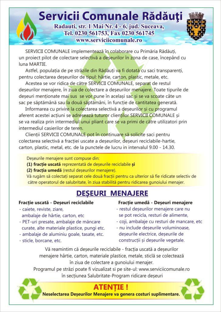Proiect pilot de colectare selectivă a deșeurilor